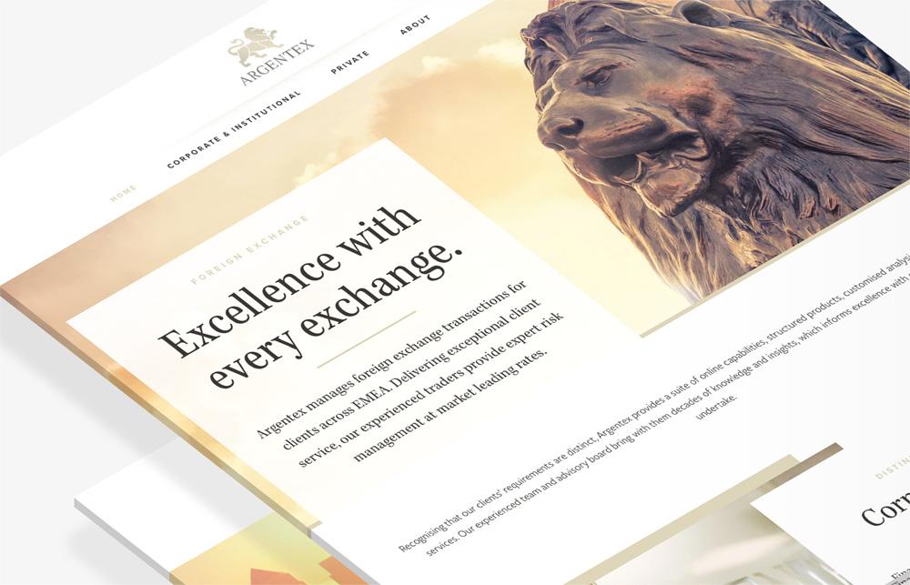 Argentex website layouts