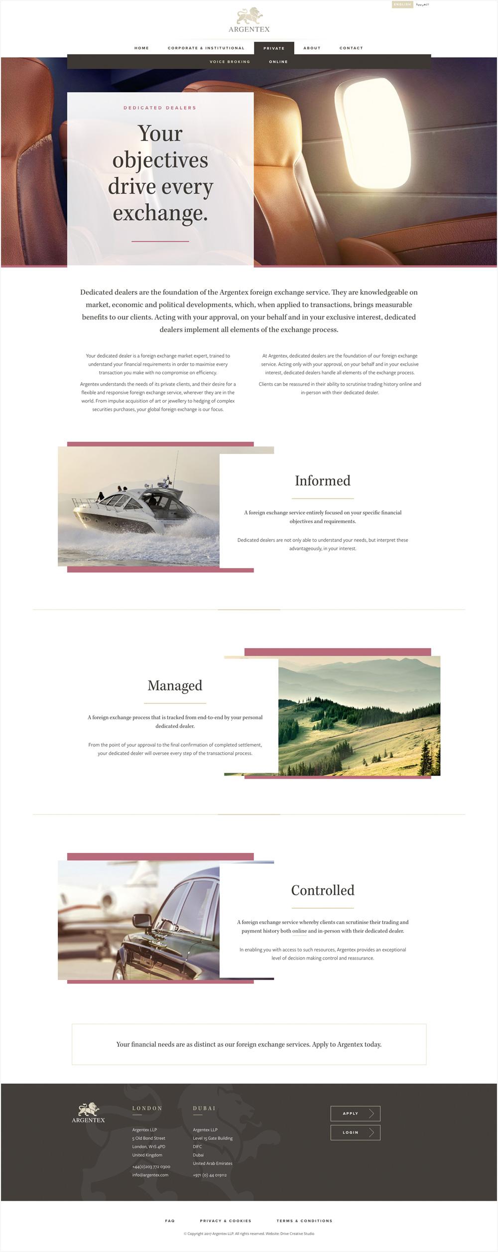 Argentex website flat page layout