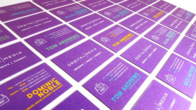 Innovative printing techniques for Orbital Media's new business cards