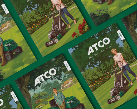 ATCO Lawnmowers vintage style print collateral